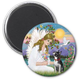 Angel Love (card) - Boston Terrier 3 6 Cm Round Magnet