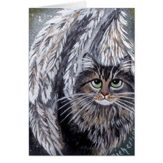 Angel Maine Coon Cat Card