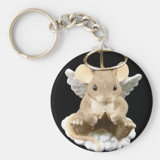Angel Mouse Basic Round Button Key Ring