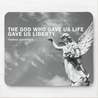 Angel Mouse Pad with Thomas Jefferson Quote