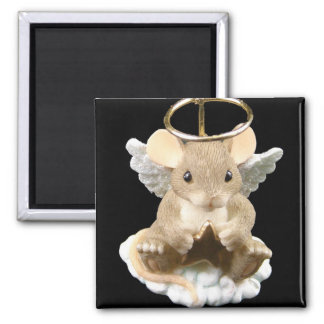 Angel Mouse Square Magnet
