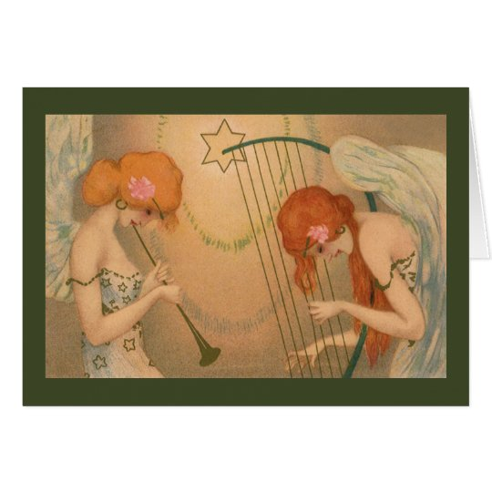 Angel Musicians Vintage Music Victorian Christmas Card