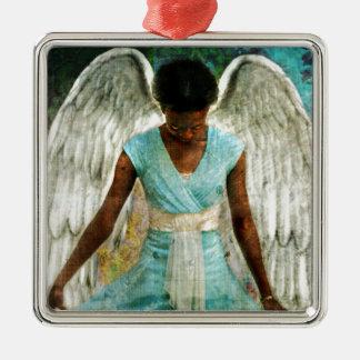 Angel of Gratitude Silver-Colored Square Decoration