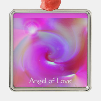 Angel of Love Silver-Colored Square Decoration