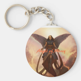 Angel of Mercy Basic Round Button Key Ring