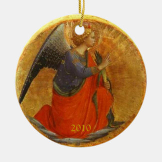 Angel of the Annunciation Custom Dated Round Ceramic Decoration