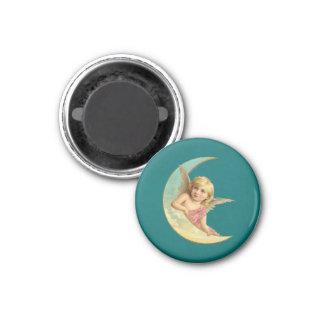 Angel on a crescent moon vintage image magnet