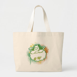 Angel on cloud, splash, green by christianstores. large tote bag