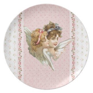 Angel on pink flowered background plates