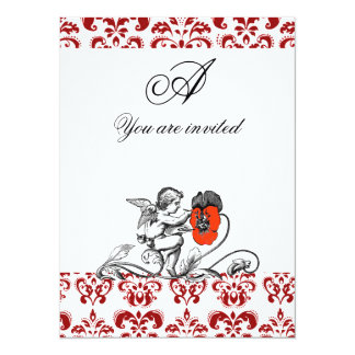 ANGEL PAINTING A RED FLOWER DAMASK MONOGRAM 14 CM X 19 CM INVITATION CARD