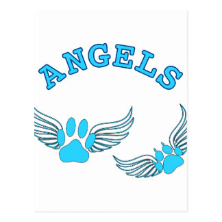 Angel Pet Paws In Blue Postcard