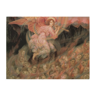 Angel Piping to Souls in Hell by Evelyn De Morgan Wood Canvas