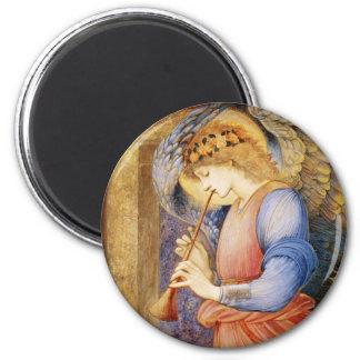 Angel Playing a Flageolet by Edward Burne-Jones 6 Cm Round Magnet