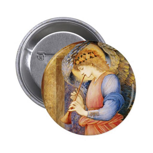 Angel Playing a Flageolet by Edward Burne-Jones Pin
