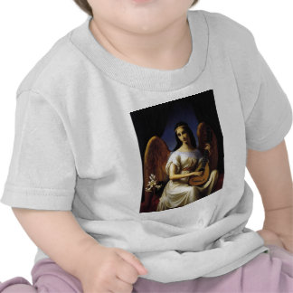 Angel Playing mandolina Music Antique Painting T-shirts
