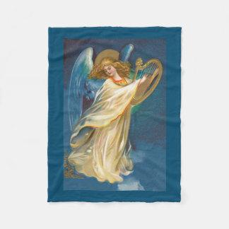 Angel Playing Music On A Harp Fleece Blanket