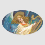 Angel Playing Music On A Harp Oval Sticker