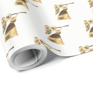 Angel playing Trumpet Gold White Christmas Wrapping Paper