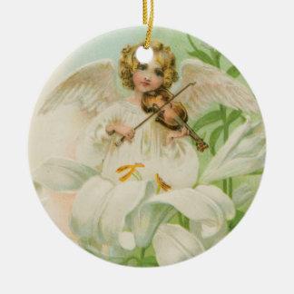 Angel Playing Violin Ceramic Ornament