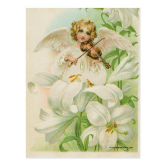 Angel Playing Violin In A Lily Garden Postcard