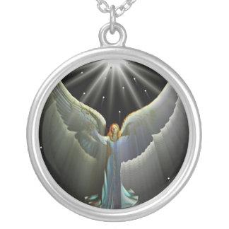 Angel power round pendant necklace
