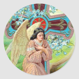 Angel Prayer Classic Round Sticker