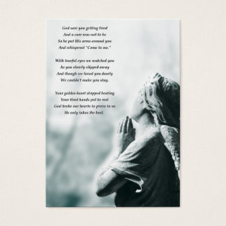 angel prayer funeral service announcements business card