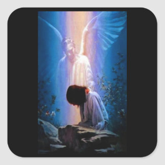 Angel Prayer Square Sticker