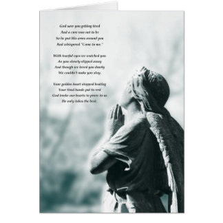 angel prayer sympathy card