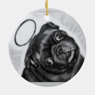 Angel Pug original artwork by Carol Zeock Ceramic Ornament