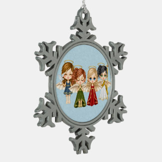 Angel Quartet Pixel Art Pewter Snowflake Decoration