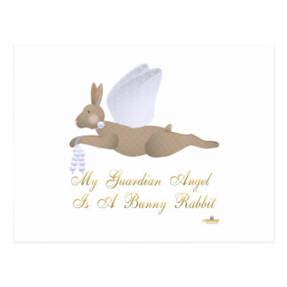 Angel Rabbit Brown Blue Roses Guardian Angel Bunny Postcards