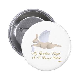 Angel Rabbit Tan Blue Roses Guardian Angel Bunny R 6 Cm Round Badge