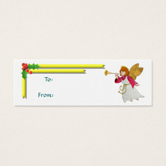 Angel, Ribbons and Holly Gift Tag Mini Business Card