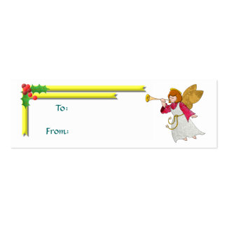 Angel, Ribbons and Holly Gift Tag Pack Of Skinny Business Cards