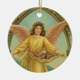 Angel Scattering Roses Ceramic Ornament