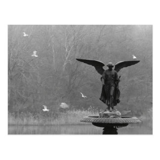 Angel Sculpture in Pond Postcard