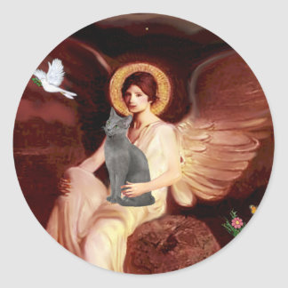 Angel Seated - Russian Blue cat Classic Round Sticker