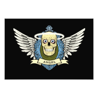 Angel Skull Skeleton with Halo with Bird Wings art Photo