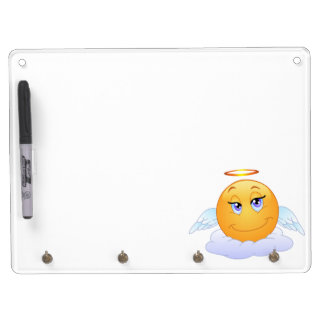 Angel smiley dry erase board with key ring holder
