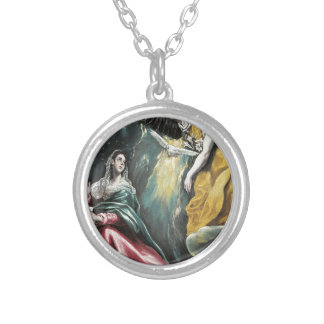 Angel Speaking to Mary Silver Plated Necklace