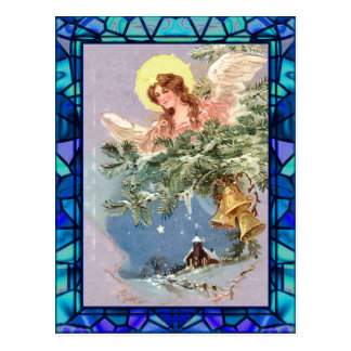 ANGEL & STAINED GLASS by SHARON SHARPE Postcard