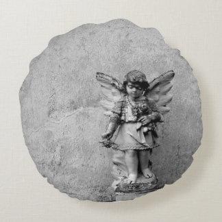 Angel Statuary Round Throw Pillow