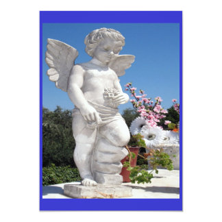 "Angel Statue In Blue And White 5"" X 7"" Invitation Card"