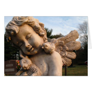 Angel Statue With Bird and Rabbit Card