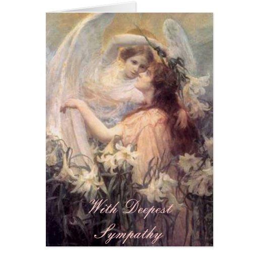 Angel Taking Lily Sympathy Card