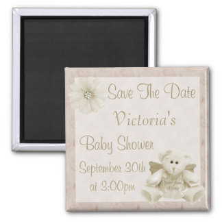 Angel Teddy Bear Save the Date Neutral Baby Shower Square Magnet