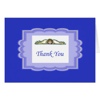 Angel Thank You Card With Blue Border Note Card