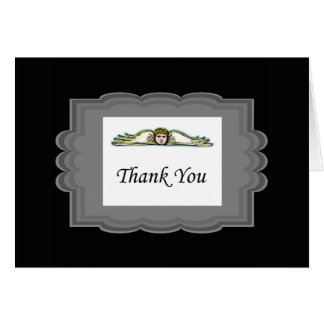 Angel Thank You Card With Gray Border Note Card