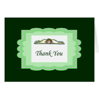 Angel Thank You Card With Green Border Note Card
